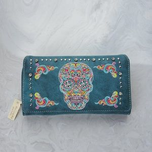 Montana West Trifold Sugar Skull Wallet NWT